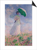 Woman with a Parasol Turned to the Right Posters by Claude Monet