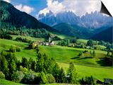 Santa Maddalena church in the Dolomites Mountains Print by Blaine Harrington
