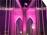 Brooklyn Bridge Lit Purple Prints by Alan Schein