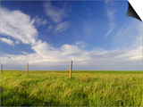 Active Prairie Sky and Farm Fenceline West of Calgary, Alberta, Canada. Posters by Peter Carroll