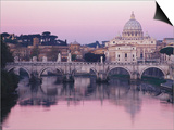 Tiber River and St. Peter's Basilica Prints by John & Lisa Merrill