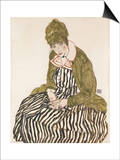 Edith with Striped Dress, Sitting Posters by Egon Schiele