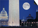 Moon over mall in Washington D.C. Prints by John Aikins