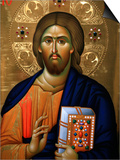 Christ Pantocrator Icon at Aghiou Pavlou Monastery on Mount Athos Print by Julian Kumar