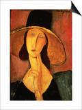 Portrait of Jeanne Hebuterne in a Large Hat Stampe di Amedeo Modigliani