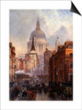 St. Paul's Cathedral and Ludgate Hill, London, England Posters by John O'connor