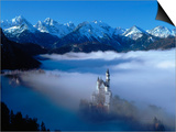 Neuschwanstein Castle Surrounded in Fog Prints by Ray Juno