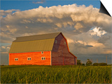 Barn and Cumulonimbus Cloud Mass near Bromhead, Saskatchewan, Canada Print by Dave Reede