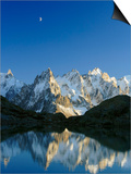 Aiguilles de Chamonix and and Mont Blanc reflected in Lac Blanc at sunset Posters by Frank Lukasseck