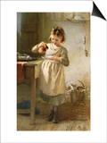 Un niña con un gatito Láminas por Emily Farmer