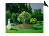 Young Woman in a Garden Posters by Claude Monet