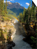A Vertical Image of the Athabasca Falls on the Athabasca River with a Colorful Rainbow and Mount Ke Prints by Robert McGouey