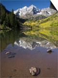 Aspens reflecting in lake under Maroon Bells, Colorado Prints by Joseph Sohm