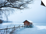Snow covered pier and boat house at Lake Starnberg Posters by Frank Lukasseck