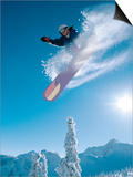Man snowboarding on sunnny day Poster by Henry Georgi