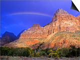 Rainbow, The Watchman, Zion National Park, Utah, USA Prints by Michael Wheatley