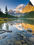Mount Edith Cavell Reflected in Cavell Lake in Jasper National Park, Alberta, Canada. Prints by Josh McCulloch