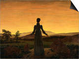 A Woman at Sunset or Sunrise Prints by Caspar David Friedrich