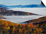 Fog Over Appalachian Mountains in Autumn Posters by Adam Jones