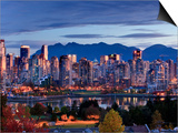 Vancouver skyline in front of North Shore Mountains Prints by Ron Watts