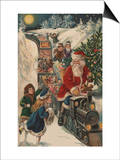 Christmas Postcard with Santa Riding a Train with Toys Posters by Alexandra Day