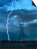 Lightning Striking Kunstdrucke von Jeff Vanuga