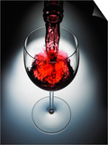 Wine poured in glass Poster by  Newmann