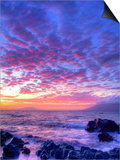 Sunset over beach at Wailea on Maui Prints by Ron Dahlquist
