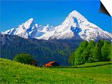 Cabin Below Watzmann Mountain in Bavarian Alps Posters by Walter Geiersperger