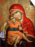 Virgin and Child Icon at Aghiou Pavlou Monastery on Mount Athos Prints by Julian Kumar
