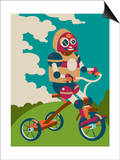 Young robot riding a tricycle Posters by Sabet Brands