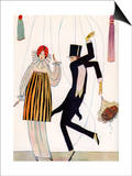Illustration of Fashionable Couple as Marionettes Poster