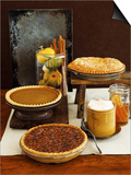 Autumn Pies: Apple/Pear, Pumpkin, and Pecan with Honey and Whipped Cream Prints by  Envision