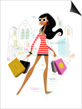 Glamourous woman shopping Prints by Kirsten Ulve