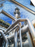 Pipes Overhead at Oil Refinery Print by Kevin Burke