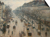 The Boulevard Montmartre on a Winter Morning Posters par Camille Pissarro