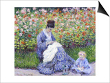 Camille Monet and a Child in the Artist's Garden in Argenteuil Posters by Claude Monet