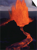 Puu Oo Crater Erupting Prints by Jim Sugar