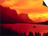Sunset Over Lake in Glacier National Park Posters by Mick Roessler
