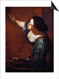 Self-Portrait as the Allegory of Painting Prints by Artemisia Gentileschi