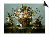 Flowers in a Basket and Flowers, a Sprig of Cherries Prints by Francesco Guardi