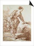 A Shepherdess Picking Flowers Affiches par Hubert Robert