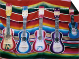 Colorful Guitars Drying Prints by Richard Cummins