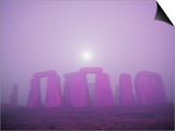 Moon Setting Over Stonehenge Posters by Roger Ressmeyer
