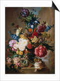 Poppies, Peonies and Other Assorted Flowers in a Terracotta Vase on a Stone Plinth with a Bird's Ne Posters by Jan van Os