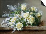 Ein Stillleben mit gelben Rosen Kunstdrucke von Raoul De Longpre