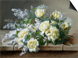 Bodegón con rosas amarillas Arte por Raoul De Longpre