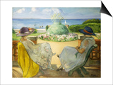 Two Young Women on a Terrace by the Sea by Henri Lebasque Poster by Henri Lebasque