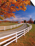 White Wooden Fence Along Farm Poster by Bob Krist