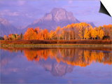 Oxbow Bend Reflecting Mount Moran Prints by Jeff Vanuga